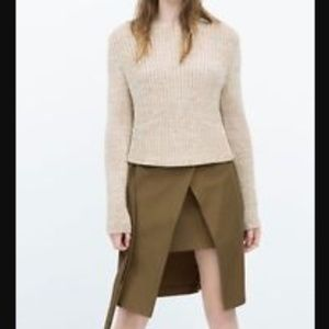 Zara Dark Khaki Double Wrap Skirt